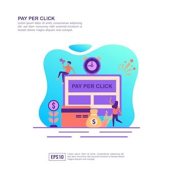 Vector illustratie concept van betalen per klik