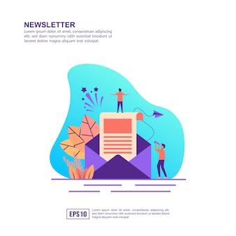 Vector illustratie concept van de nieuwsbrief