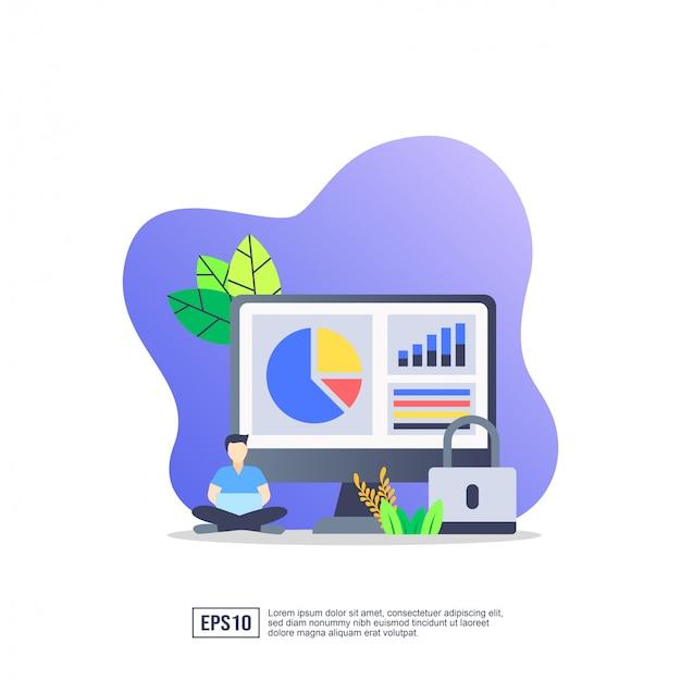 Vector illustratie concept van gegevens securit