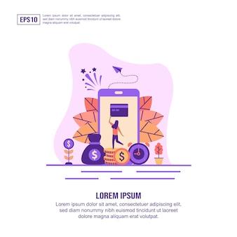 Vector illustratie concept van mobiel bankieren