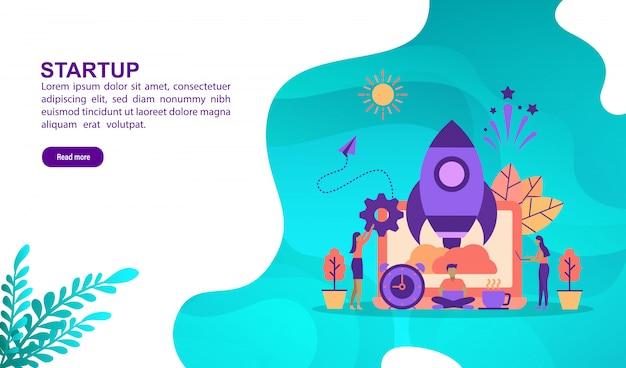 Vector illustratie concept van opstarten met karakter. bestemmingspaginasjabloon