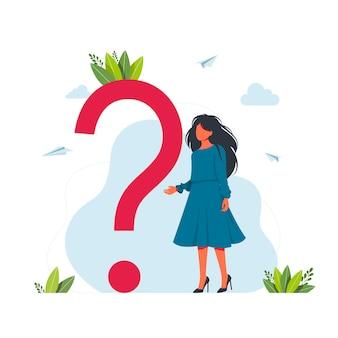 Vector illustratie concept van veelgestelde vragen van vraagtekens, metafoor vraag antwoord. veelgestelde vragen-concept. zakenvrouw rond van enorme vraagteken vectorillustratie