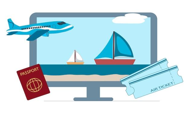 Vector illustratie. concept voor het online boeken van vliegtickets, het plannen van een toeristische reis