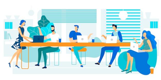 Vector illustratie coworking grote lange tafel.