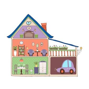 Vector illustratie die een dwarsdoorsnede door een gezinswoning toont