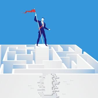 Vector illustratie die van zakenman uitgang van labyrint, vlakke stijl vindt