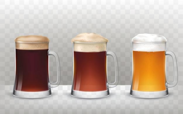 Vector illustratie drie glazen bier mokken met een ander bier geïsoleerd op een transparante achtergrond