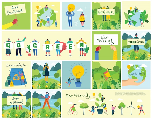 Vector illustratie eco achtergronden van concept van groene eco-energie en citaat save the planet, think green and waste recycle