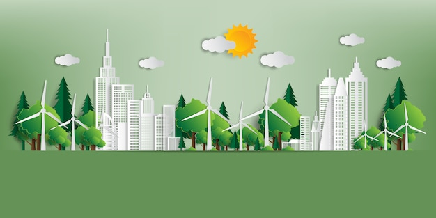 Vector illustratie eco-vriendelijk concept, groene stad redt de wereld,