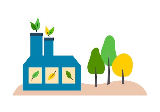 Vector illustratie ecovriendelijke onderneming fabriek geïsoleerd element op een witte achtergrond
