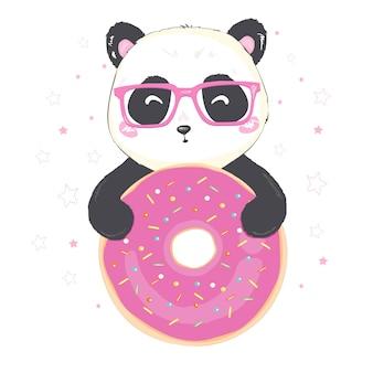 Vector illustratie: een leuke cartoon gigantische panda zit met roze donut in de hand