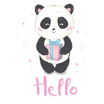 Vector illustratie: een leuke cartoon gigantische panda zit op de grond, steekt tong uit, met een tak van bamboe bladeren in de hand