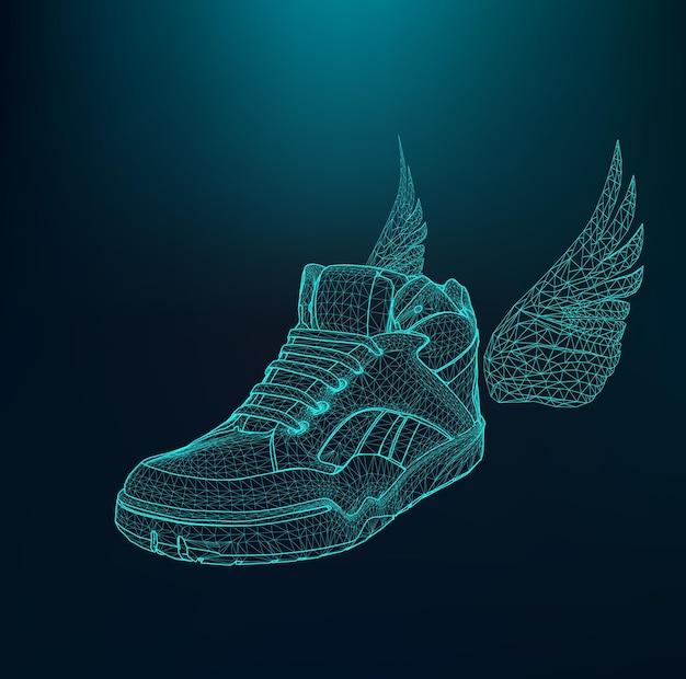 Vector illustratie eps 10 van sportschoenen voor hardlopen. omvang van lijnen en punten. moleculair rooster