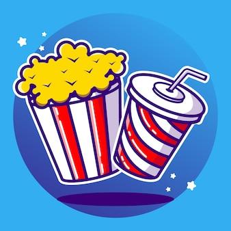 Vector illustratie fastfood popcorn en frisdrank