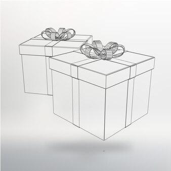 Vector illustratie geschenkdoos. abstracte creatief concept vector achtergrond. veelhoekige ontwerpstijl briefhoofd en brochure.