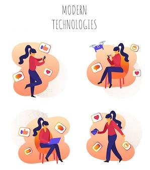 Vector illustratie geschreven moderne technologieën.