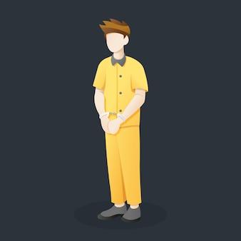 Vector illustratie gevangene met geboeid handen