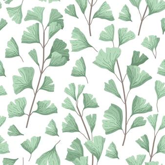 Vector illustratie ginkgo biloba verlaat naadloos patroon met bladeren