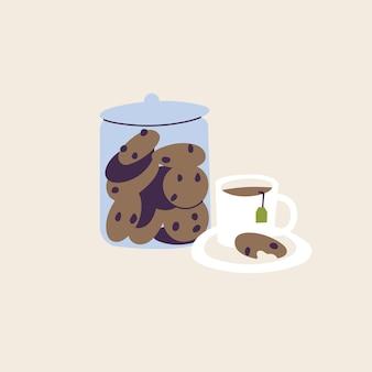 Vector illustratie glazen pot met chocolade koekjes geïsoleerd en kopje thee. lekkere pauze.