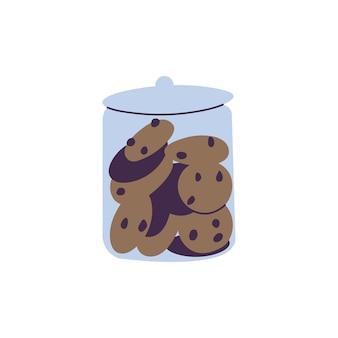 Vector illustratie glazen pot met chocolade koekjes geïsoleerd op een witte achtergrond