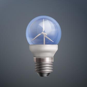 Vector illustratie gloeilamp met windturbines op donkere achtergrond