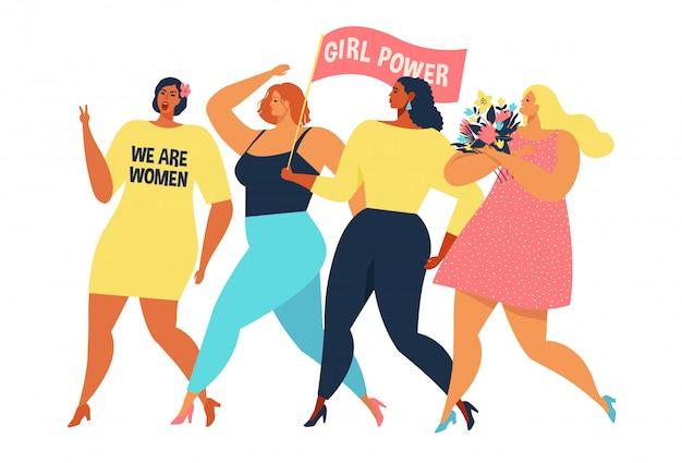 Vector illustratie grafische groep vrouwen lopen.