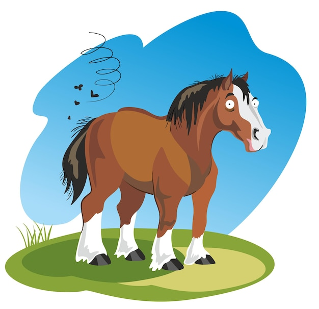 Vector illustratie grappige cartoon paard geïsoleerd op een witte achtergrond.