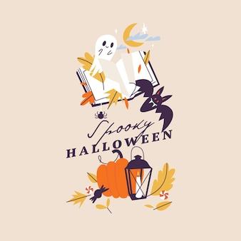 Vector illustratie halloween-feest posters of uitnodiging. folder herfstviering. horror helloween-borden.
