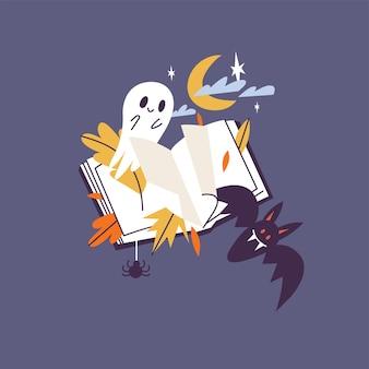 Vector illustratie halloween samenstelling. horror helloween boek met vleermuis en spook.