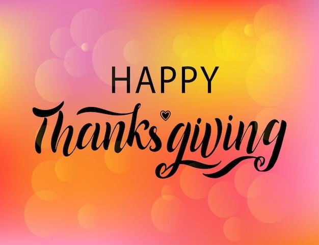 Vector illustratie. happy thanksgiving day typografie vector design voor wenskaarten en poster op een textuur achtergrond ontwerp sjabloon viering. happy thanksgiving inscriptie, belettering.