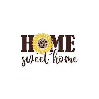 Vector illustratie home sweet home veranda bord met zonnebloem geïsoleerd op een witte achtergrond