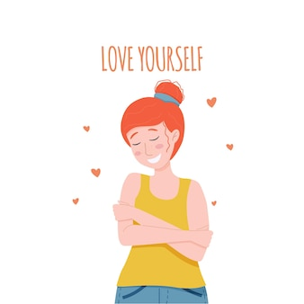 Vector illustratie hou van jezelf concept vrouw knuffelt zichzelf