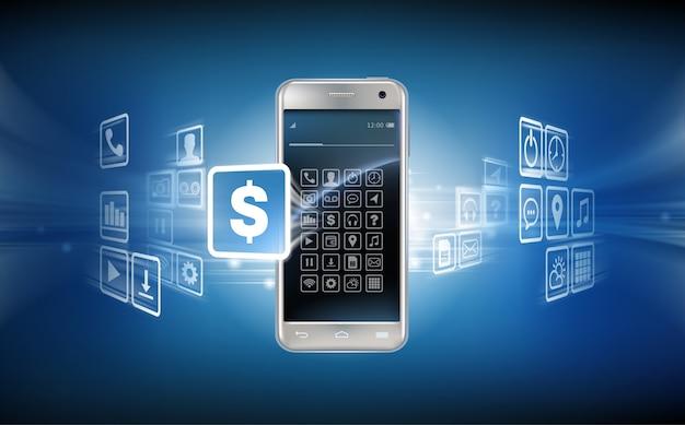 Vector illustratie in een realistische stijl het concept van mobiele betalingen met behulp van de applicatie op uw smartphone.
