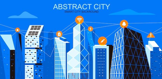 Vector illustratie in eenvoudige vlakke stijl - stadsgezicht met draadloos informatienetwerk