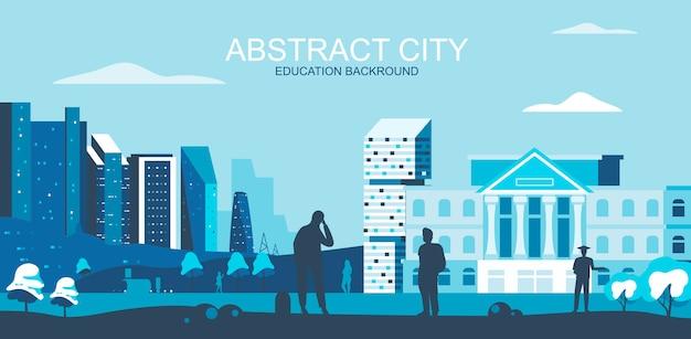Vector illustratie in eenvoudige vlakke stijl - universiteit, hogeschool campus met studenten