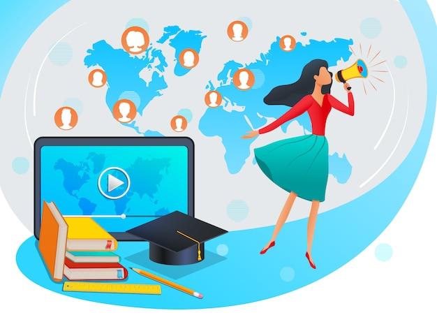 Vector illustratie in vlakke stijl - online onderwijs, opleidingen, specialisatie of webinar - vrouw met megafoon