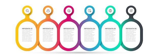 Vector illustratie infographic ontwerp met kleurrijke en pictogrammen tijdlijnproces met 6 opties