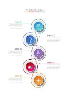 Vector illustratie infographic ontwerpsjabloon presentatie 5 opties of stappen