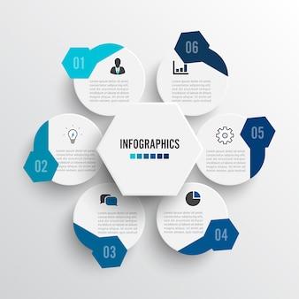 Vector illustratie infographics 6 opties. sjabloon