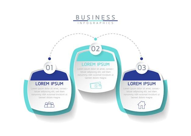 Vector illustratie infographics ontwerp sjabloon zakelijke informatie presentatie grafiek 3 stappen