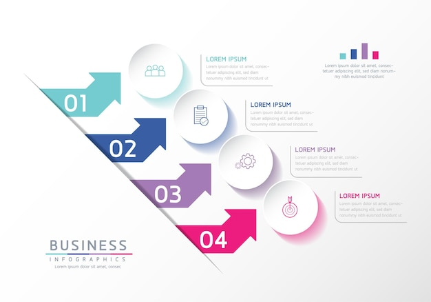 Vector illustratie infographics ontwerp sjabloon zakelijke informatie presentatie grafiek met 4 opties of stappen
