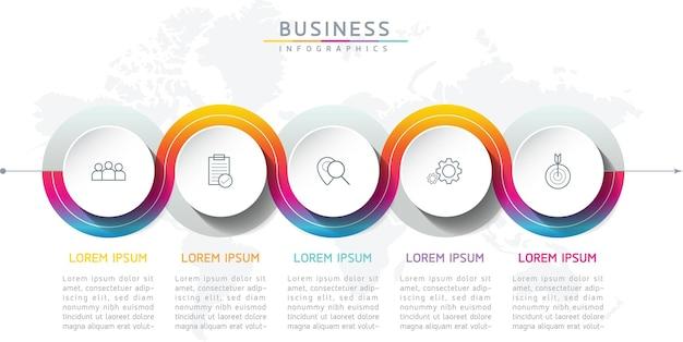 Vector illustratie infographics ontwerp sjabloon zakelijke informatie presentatie grafiek met 5 opties of stappen