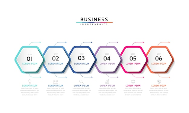 Vector illustratie infographics ontwerp sjabloon zakelijke informatie presentatie grafiek met 6 opties of stappen