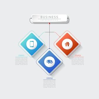 Vector illustratie infographics ontwerpsjabloon marketinginformatie met 3 opties of stappen
