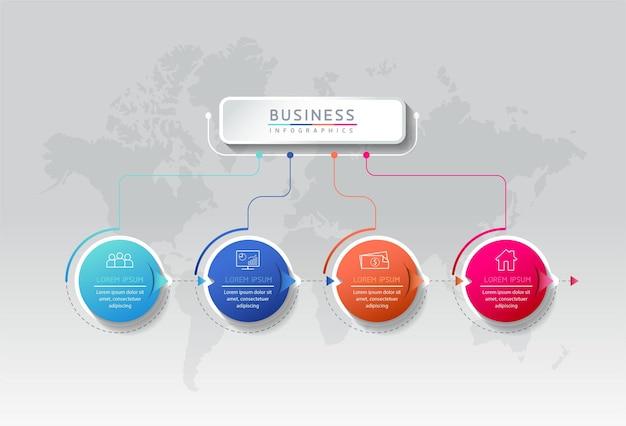 Vector illustratie infographics ontwerpsjabloon marketinginformatie met 4 opties of stappen