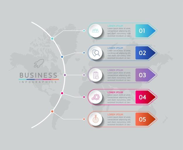 Vector illustratie infographics ontwerpsjabloon marketinginformatie met 5 opties of stappen