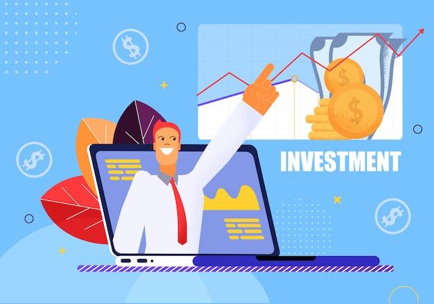 Vector illustratie investeringen op blauwe achtergrond.