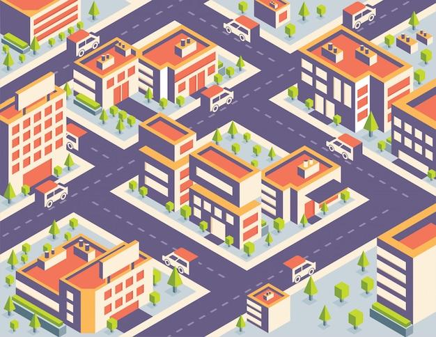 Vector illustratie isometrische stad