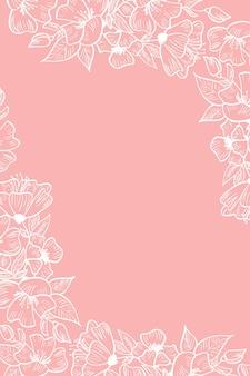 Vector illustratie kaartsjabloon met koperen kleur bloem bloemen roze achtergrond voor bruiloft
