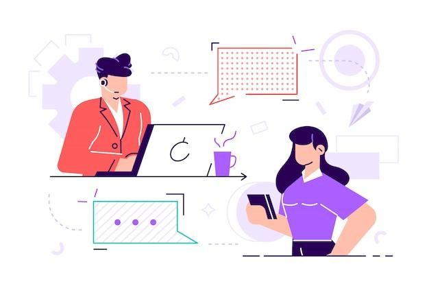 Vector illustratie. klantenservice, mannelijke hotline-operator adviseert klanten, online wereldwijde technische 247 klanten- en operatorondersteuning. vlakke stijl vectorillustratie